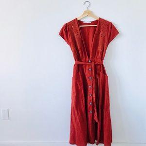 NWOT Boho Zara Button Midi Dress in Rust — M